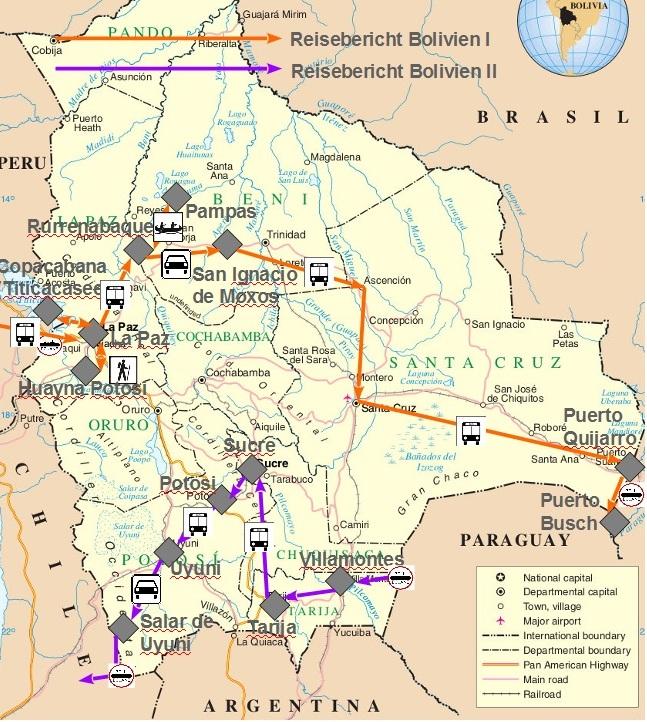 Die Landkarte meiner fast 6-wöchigen Bolivien-Reise