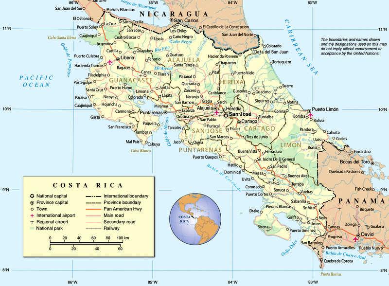 Landkarte von Costa Rica