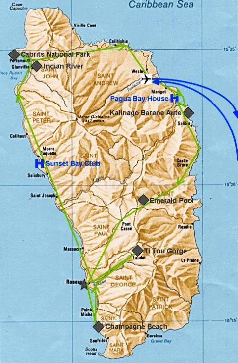 Landkarte und Reiseroute in Dominica