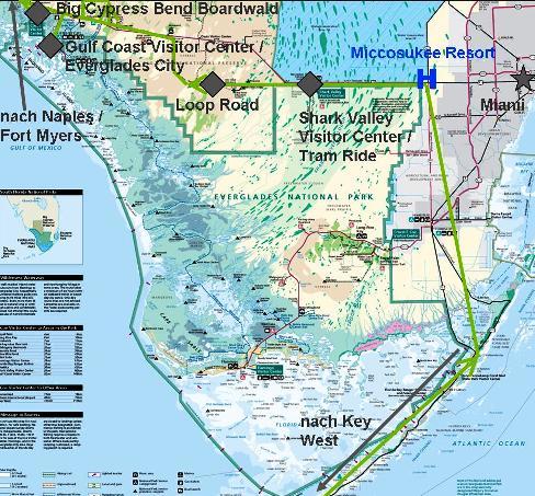 Karte von unserer Fahrt durch den Everglades National Park in Florida