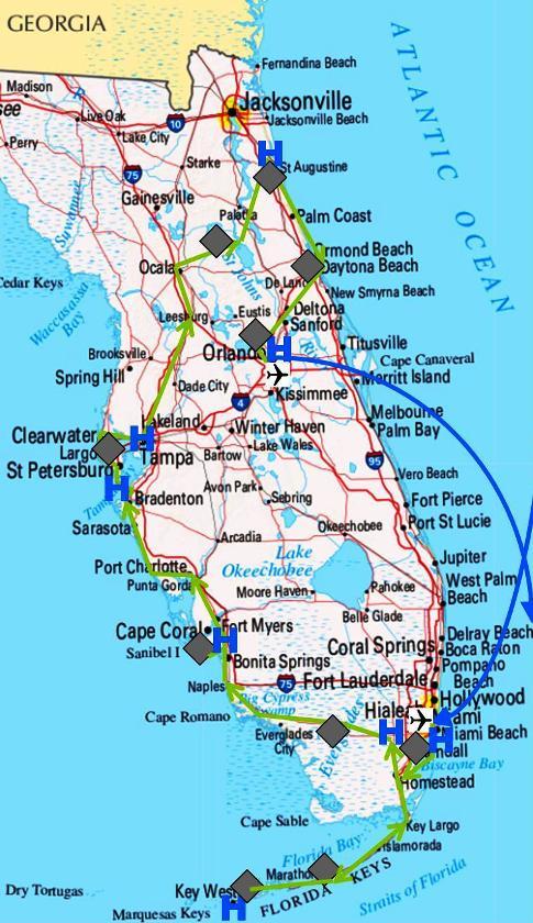 Übersichtskarte von Florida zu unserer Reiseroute durch den US-Bundesstaat