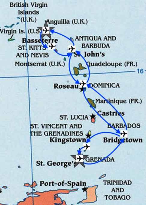 Landkarte zu meinem Flügen mit Liat von Grenada nach Sint Maarten