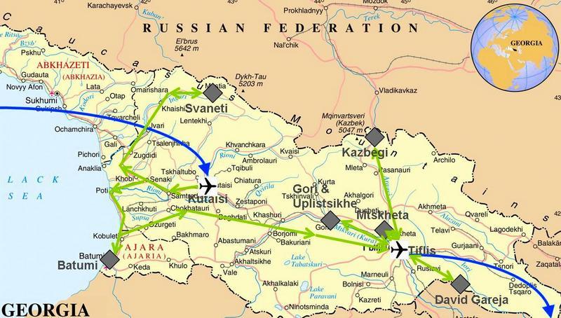 Meine Reise durch Georgien auf der Karte
