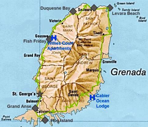 Unsere Route für die Inselumrundung von Grenada per Fahrrad