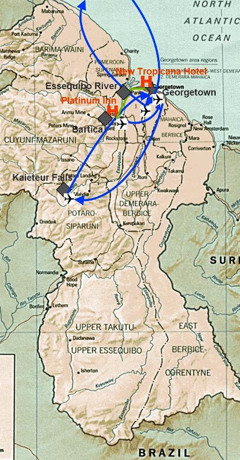Übersichtskarte von Guyana in Bezug auf meine Reise durch das Land