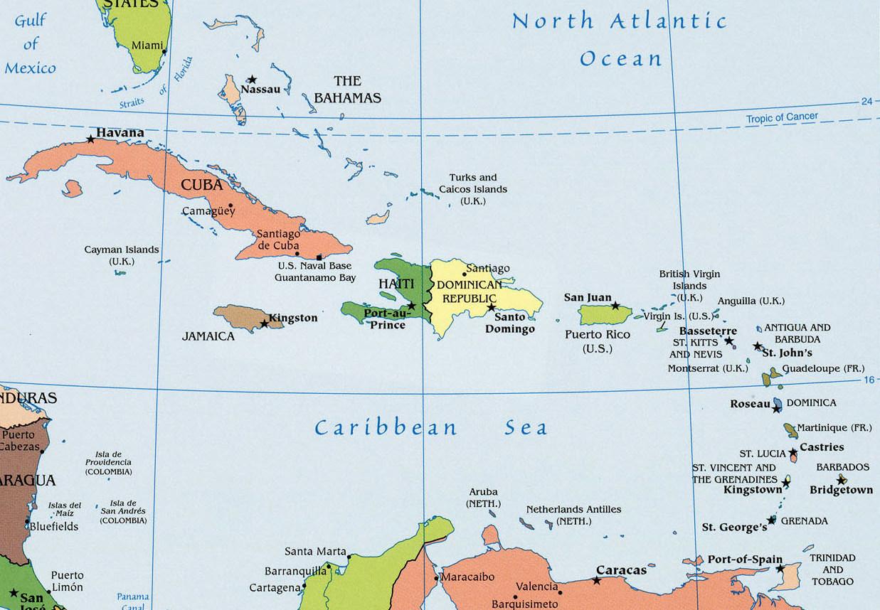Die Karibik mit all ihren Inseln und Ländern
