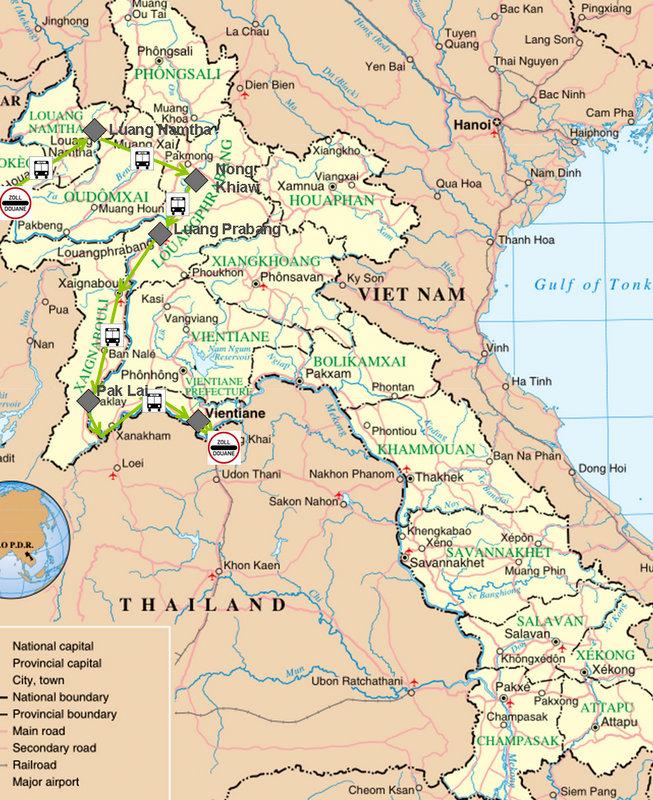 Landkarte mit meiner Reiseroute durch den Norden von Laos