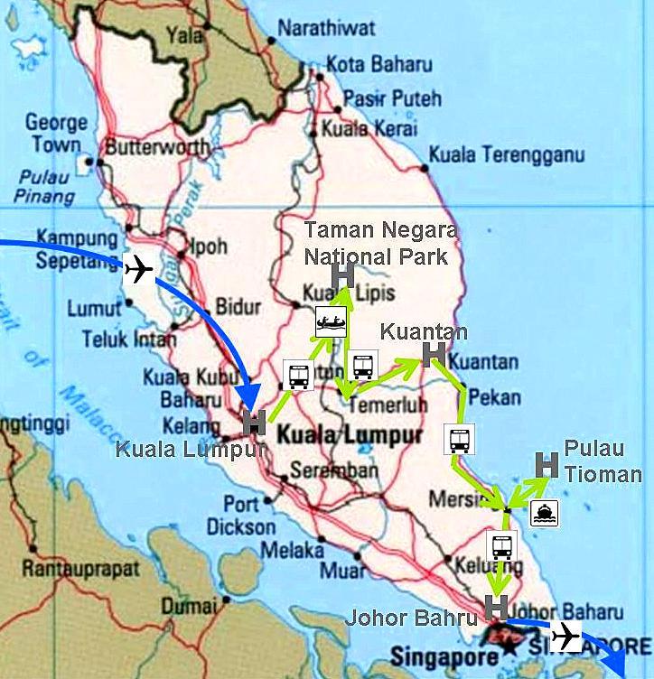 Landkarte über meine Reise durch Malaysia