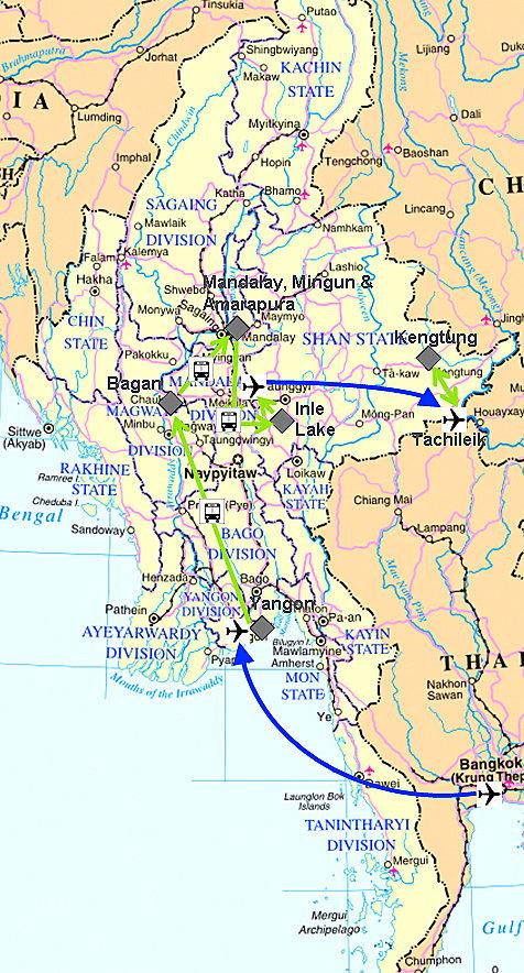 Meine Reiseroute durch Myanmar, mit Yangon, Bagan, Inle Lake und Kengtung