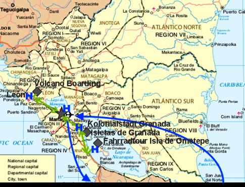 Landkarte von Nicaragua mit meinem Reiseverlauf
