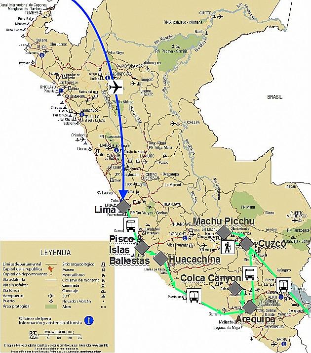 Karte von Peru mit meiner Reiseroute