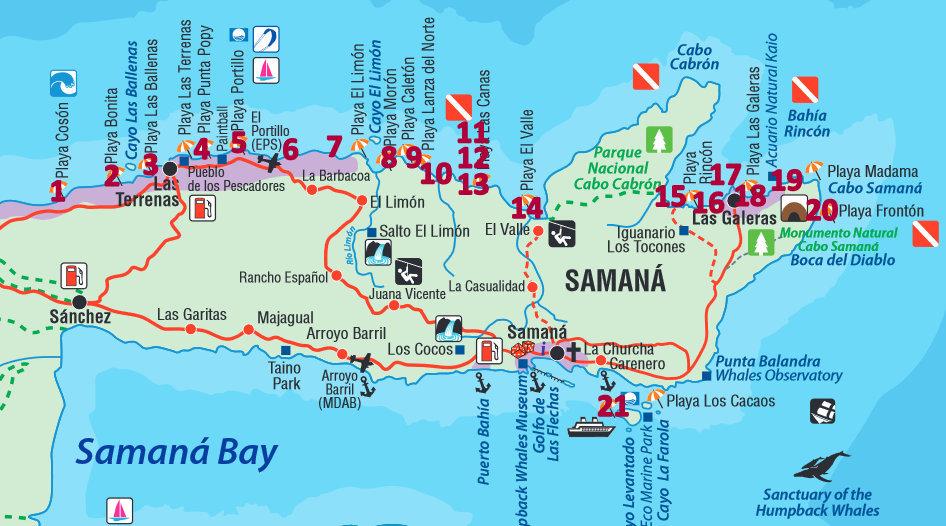 Landkarte der schönsten Strände der Halbinsel Samaná in der Dominikanischen Republik