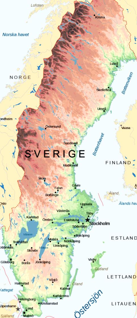 Übersichtskarte von Schweden