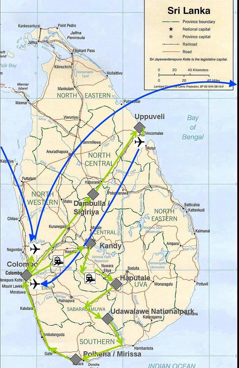 Meine Reiseroute durch Sri Lanka