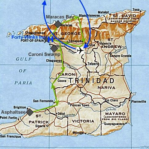 Karte und Reiseroute von unserem Besuch in Trinidad