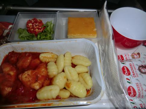 Das Mittagessen auf dem Flug mit Air Berlin von Düsseldorf nach Curacao