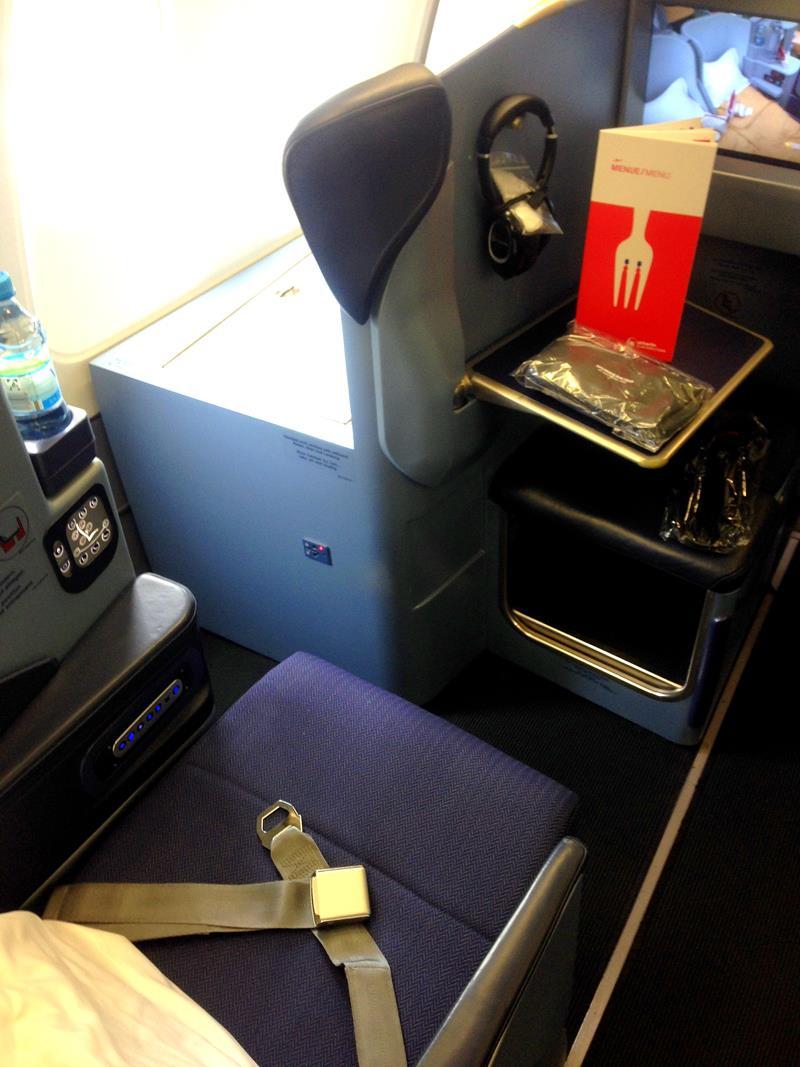 Mein Sitz in der Business Class von Air Berlin auf dem Flug von Düsseldorf nach Puerto Plata