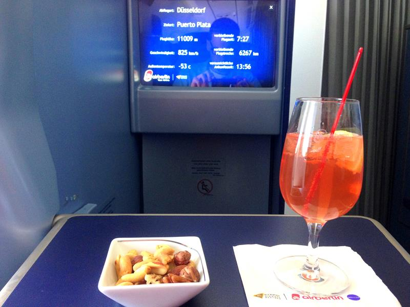 Aperitif in der Business Class bei Air Berlin