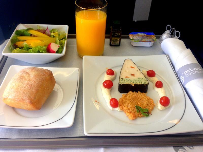 Vorspeise in der Business Class auf der Langstrecke mit Air Berlin