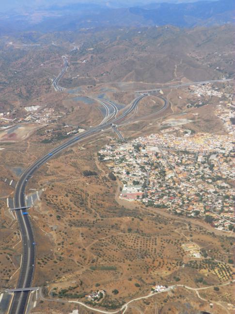 Blick auf einen Teil vn Andalusien nach dem Start in Malaga