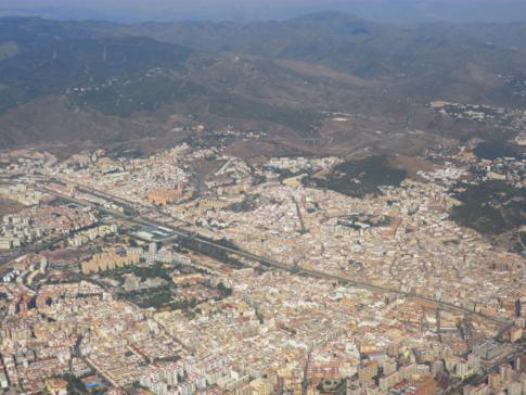 Blick auf Malaga nach dem Start in der Stadt