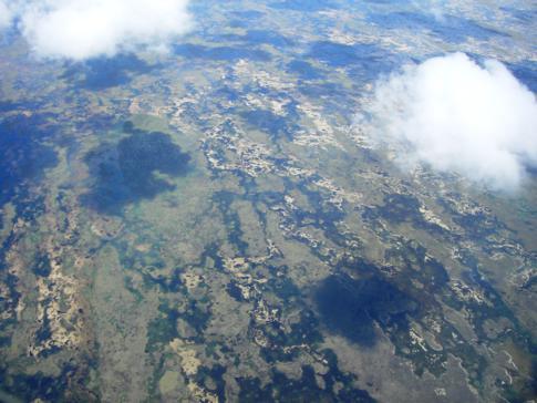 Blick auf die Everglades auf dem Flug nach Miami