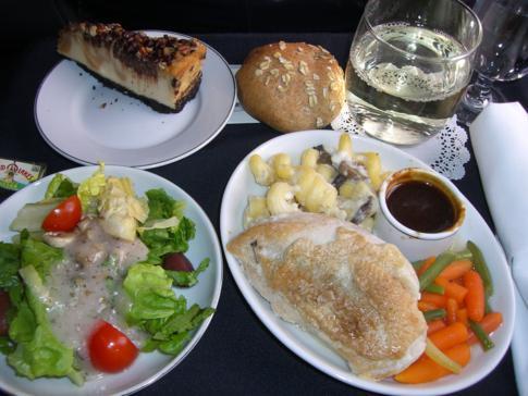 Sehr leckeres Menü in der Business Class von American Airlines