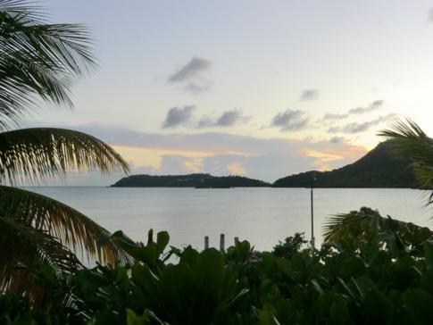 Meerblick von unseren Zimmer im Catamaran Hotel in Antigua