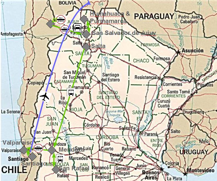 Meine Reiseroute durch Chile sowie den Nordwesten von Argentinien