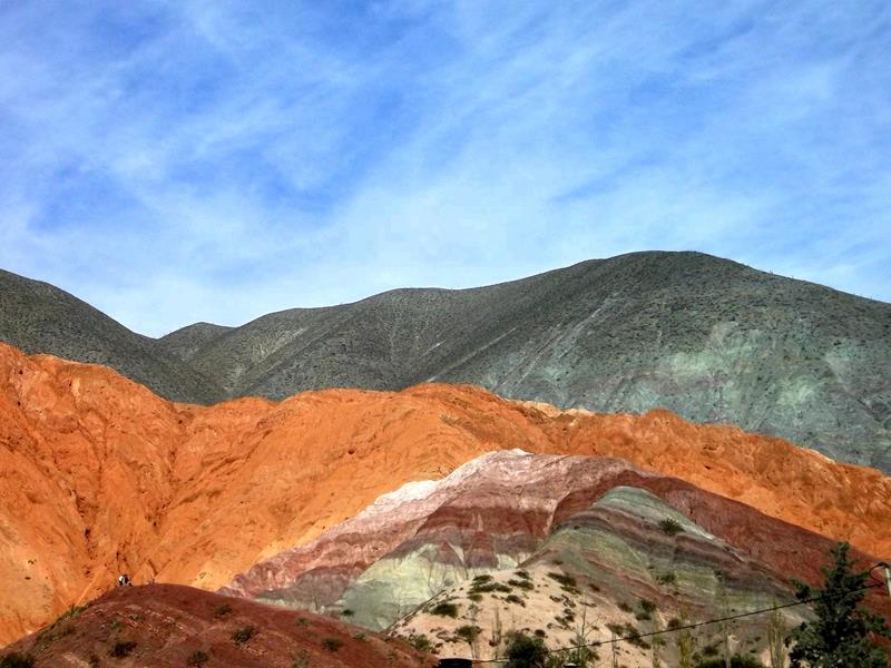 Der Montana de siete colores in Purmamarca, übersetzt der Berg mit 7 Farben