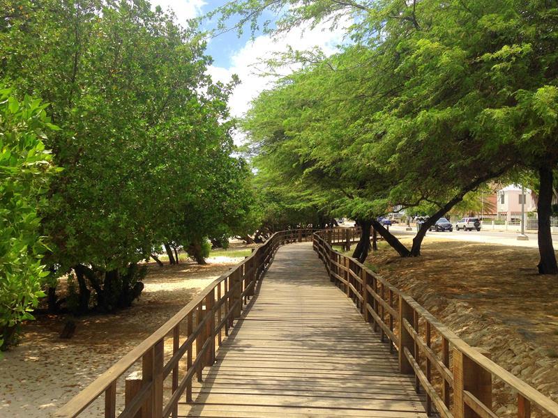 Boardwalk entlang des Strands in der Nähe von Oranjestad