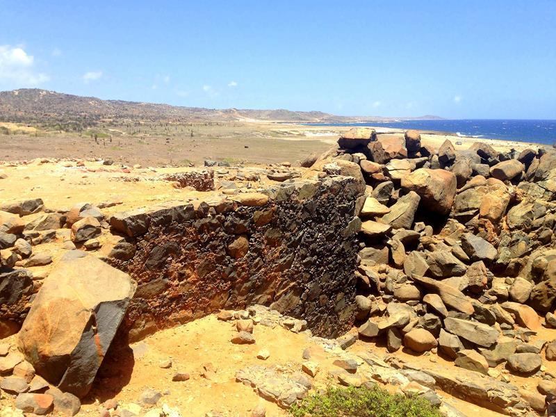 Die Bushiribana Gold Mill an der rauen Nordostküste von Aruba