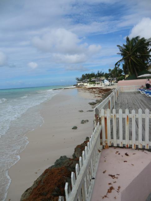 Ausblick vom Butterfly Beach Hotel in Barbados auf das Meer der Karibik