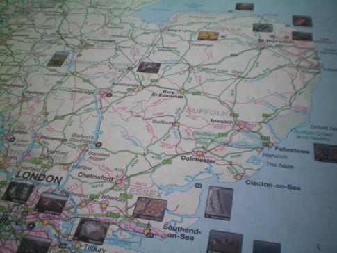 """Die Übersichtskarte mit allen Bildern von """"Britain from the Air"""""""