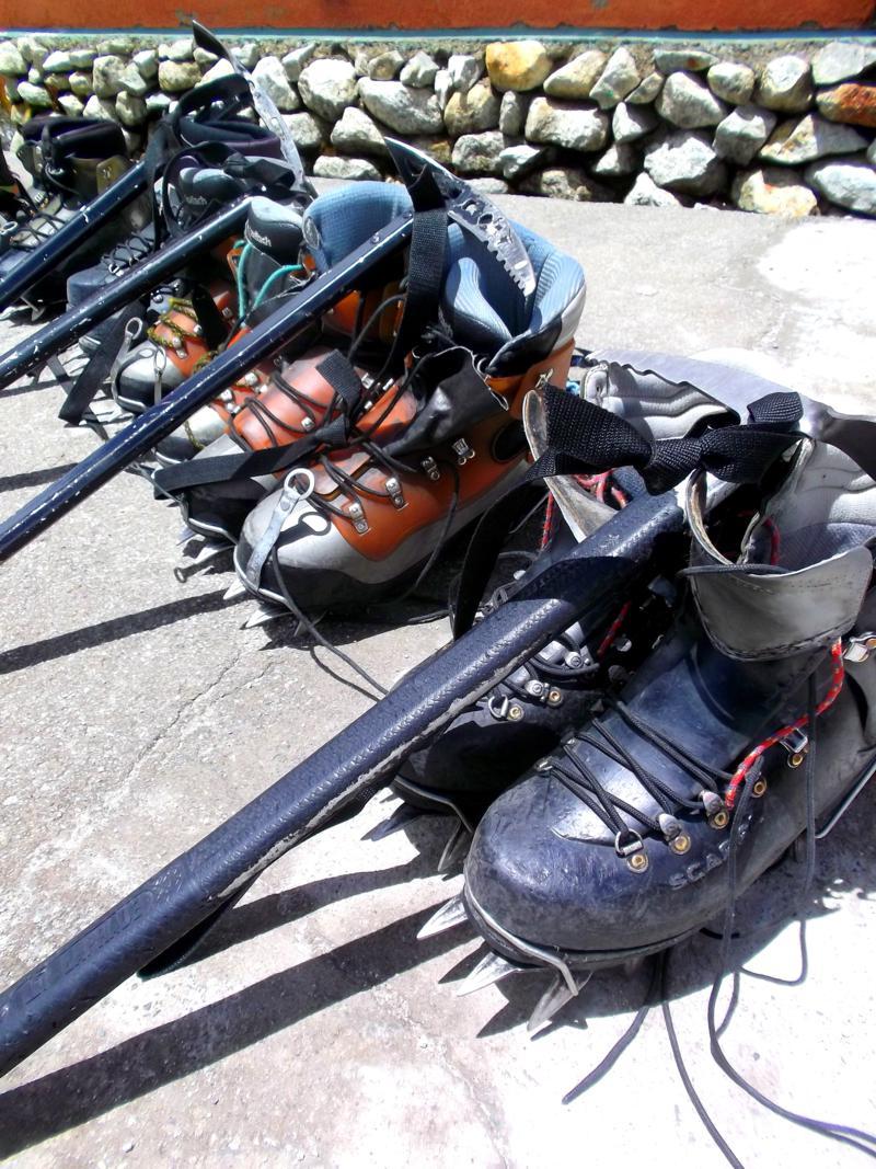 Die Bergsteiger-Ausrüstung für die Tour auf den Huayne Potosi