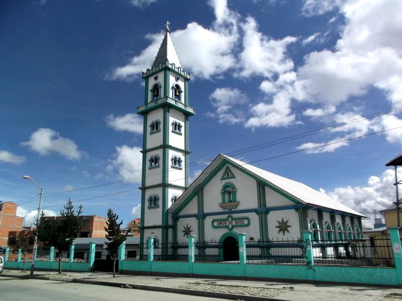 Eine Kirche in El Alto, eine der höchst gelegenen Städte der Welt