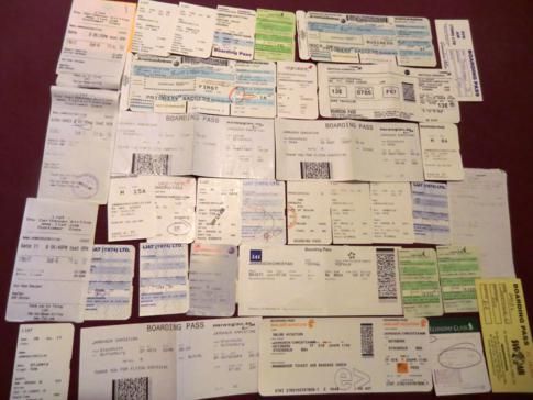 Die gesammelten Bordkarten meiner Flüge im Jahr 2012 - Übersicht
