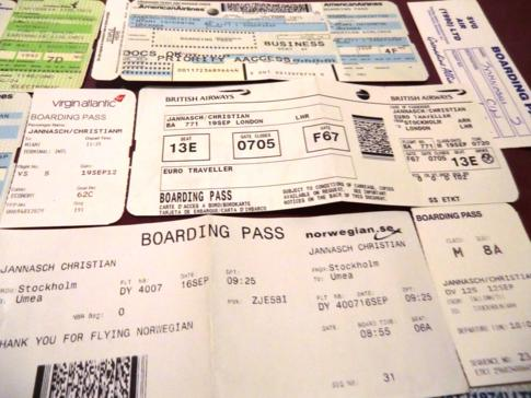 Die gesammelten Bordkarten meiner Flüge im Jahr 2012 - Teil 2
