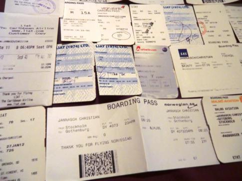 Die gesammelten Bordkarten meiner Flüge im Jahr 2012 - Teil 3