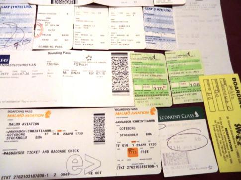 Die gesammelten Bordkarten meiner Flüge im Jahr 2012 - Teil 4