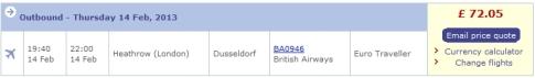 Ein Flug mit British Airways von London nach Düsseldorf