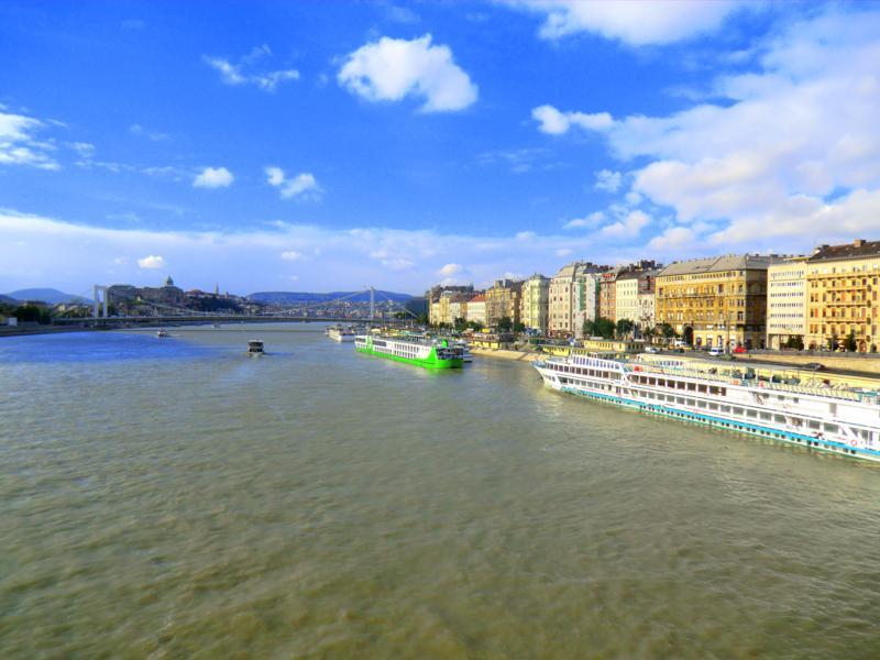 Blick von der Freiheitsbrücke auf die Donau und die Altstadt