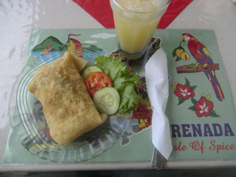 Ein Lambie-Roti in einem kleinen Restaurant auf Petit Martinique