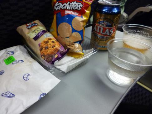 Snack von Copa Airlines auf dem Weg von Panama City nach Managua
