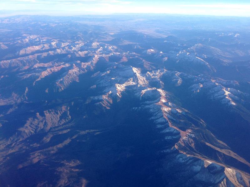 Beeindruckene Szenerie auf dem Flug von New York JFK nach Las Vegas