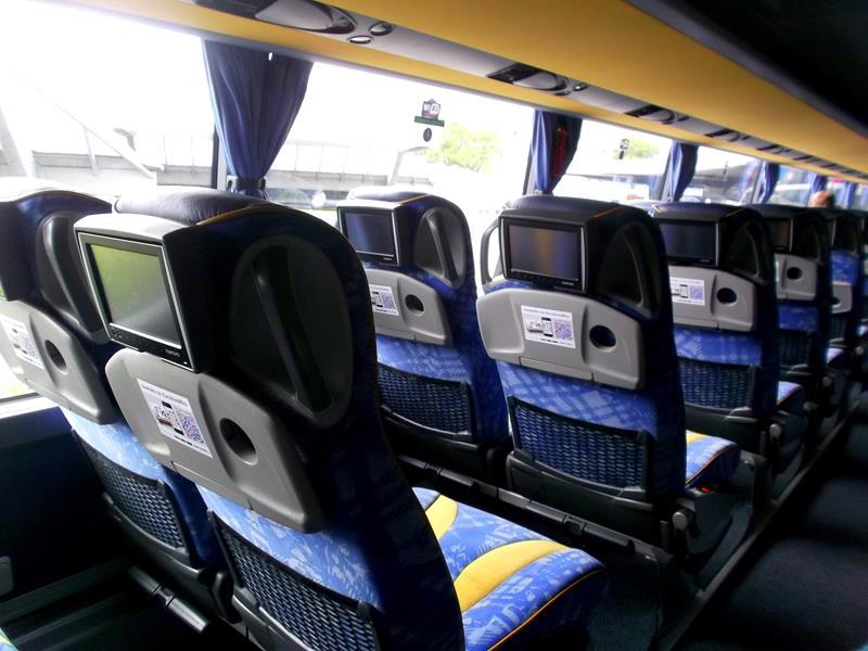Innenansicht des Busses von Eurolines
