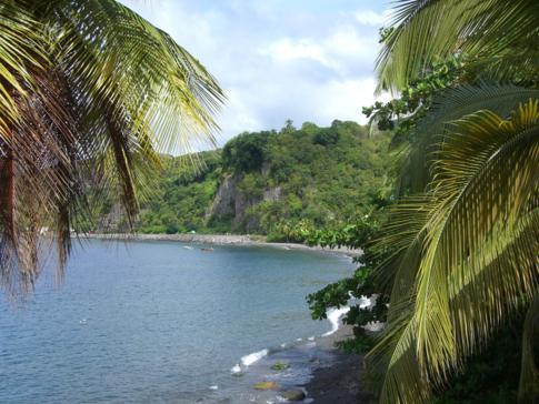 Blick auf die Sunset Bay in Dominica