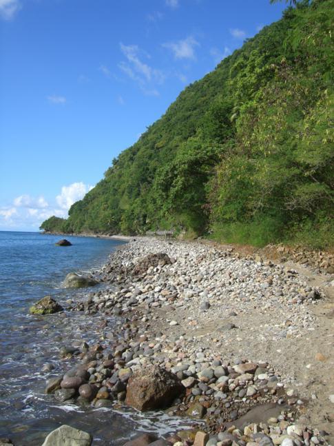 Der Champagne Beach im Süden von Dominica