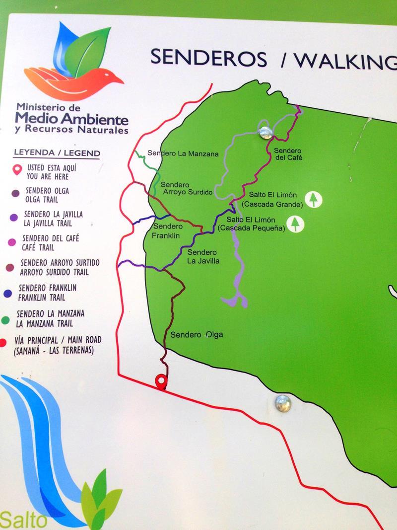 Karte mit Wanderwegen für den Salto El Limon
