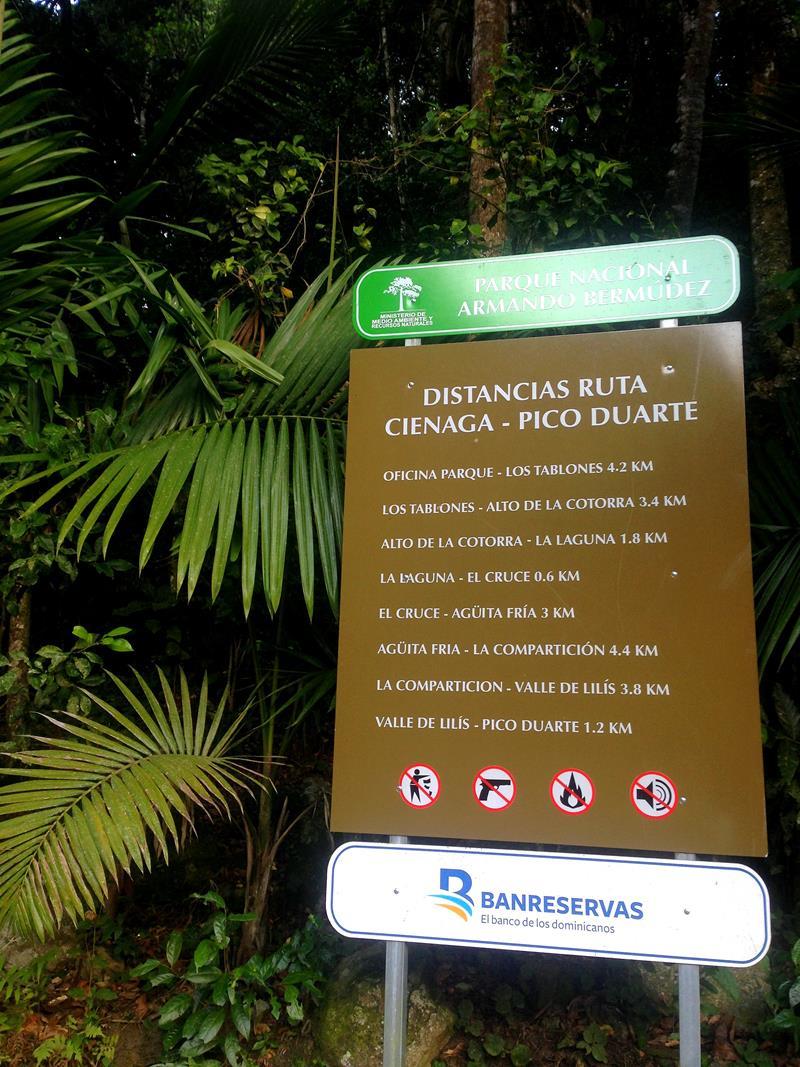 Die Strecke von La Cienaga zum Pico Duarte in der Übersicht